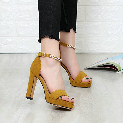 KHSKX-A Rhinestone Buckle Toe With Thick Waterproof Shoes All-Match Suede Shoes New Sandals Yellow Thirty-seven