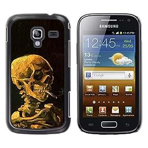 FECELL CITY // Duro Aluminio Pegatina PC Caso decorativo Funda Carcasa de Protección para Samsung Galaxy Ace 2 I8160 Ace II X S7560M // Smoke Black Deep Meaning Death Metal