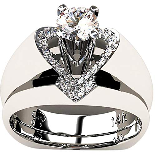 Appoi Jewelry Womens Rings Celtic, 925 Sterling Silver White Diamond Ring Heart, Zirconia, Stainless Steel, Size 6-10 (Silver, 7)