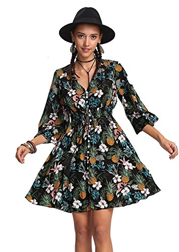 Milumia Women's Button Up Split Floral Print Flowy Party Maxi Dress Small a-Multicolor-Green-1