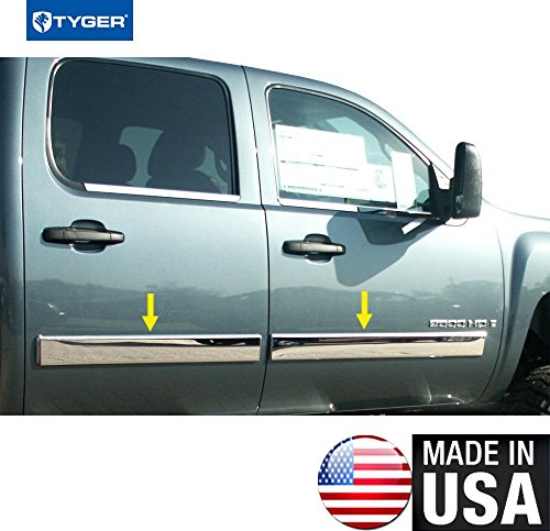 Door Molding - Made in USA! Works with 09-13 Chevy Silverado Crew Cab Body Side Molding Trim Cover Full 4.25