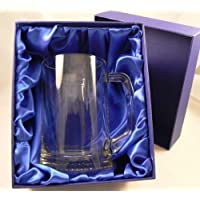 Personalised Glass Tankard, Engraved, Luxury Blue Gift Box Included