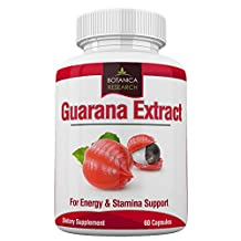 Guarana Extract with 200mg of natural caffeine. 60 Tablet Capsule Pills rich in Tannins, Theophillin and Theobromine from Guaranine Paullinia Cupana Plant Powder Seeds For Diet, Focus and Weight Loss