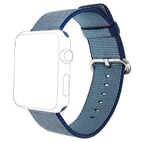 i-Liu Watch Band,42mm Woven Nylon Strap Replacement Nylon Band for Apple Watch Series 1 Series 2 (Midnight Blue)