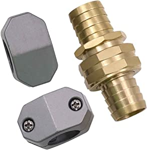 KTouler Garden Hose Repair Connector Set 5/8-Inch and 3/4-Inch Garden Hose Repair Fittings Aluminum Mender Female and Male Hose Connector