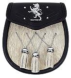 Rampant Lion Bovine Fur Premium Sporran-Made in Scotland (Celtic Embossed Sporran Suspender)