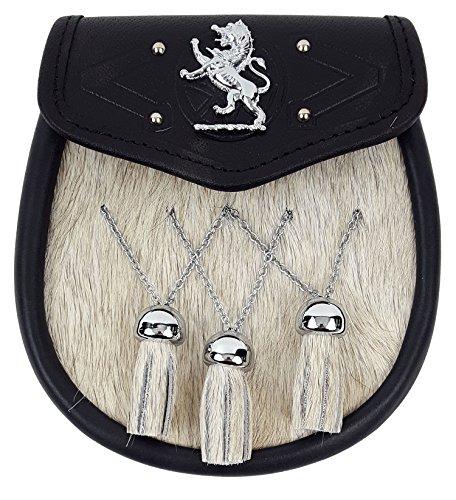 Rampant Lion Bovine Fur Premium Sporran-Made in Scotland (Celtic Embossed Sporran Suspender) by The Celtic Croft (Image #6)