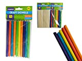 10PC Craft Dowels 0.4''x6'' Natural Wood and Assorted Colors , Case of 144