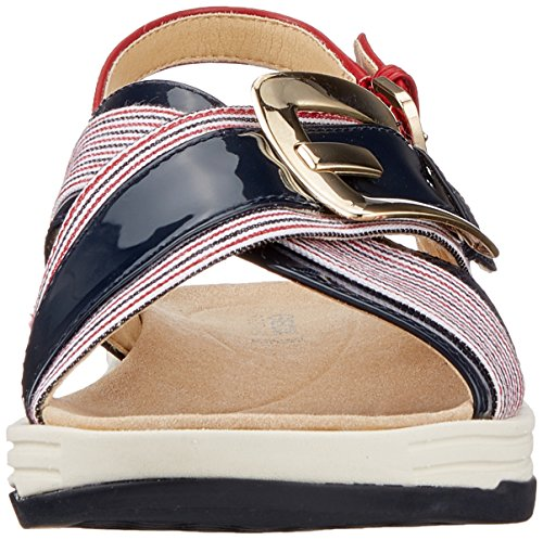 Geox Koleos F, Sandales Bout Ouvert Femme Bleu (Navy/white/red)
