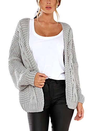 Dearlove Womens Cardigans Open Front Long Sleeve Chunky Cable Knit Sweaters Warm Cozy Winter Coats Outerwear Grey M