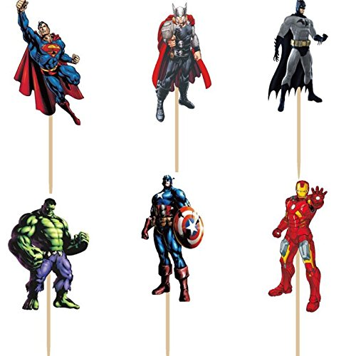 Bling Story Pack of 24 The Avengers and Superheros Cupcake Topper Picks Boy Children Party Decoration Kid's Birthday Party Decoration Supplies