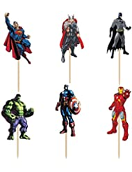 Pack of 24 The Avengers and Superheros Cupcake Topper Picks Boy Children Party Decoration Kid's Birthday Party Decoration Supplies