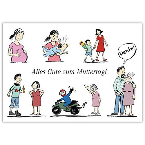 Illustrierte Muttertagskarte vom Sohn: Alles Gute zum Muttertag