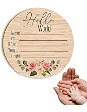 Personalized DIY Wood Birth Announcement Card Round for Newborn Baby I'm Here Wooden Plaque for Baby Name and Birth Detail