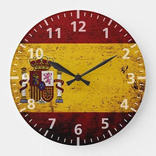 Reloj de pared Promini negro vintage bandera de España grande reloj silencioso de pared sin tictac, reloj decorativo personalizado, 30 x 30 cm: Amazon.es: Hogar