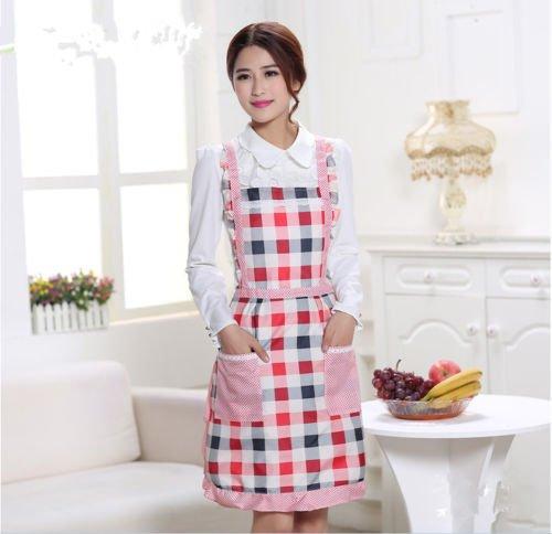 1Pcs Aprons Waterproof Apron Dress Pocket Checked Flower Cooking Kitchen Restaurant Baking Polyester Blend 58cm(Waist Width) x 76cm(Height) (Red Checkek)