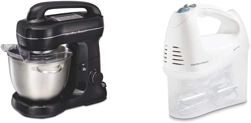 Hamilton Beach Electric Stand Mixer, 4 Quarts, Black with Top Handle & Beach 6-Speed Electric Hand Mixer, Beaters and Whisk, with Snap-On Storage Case, White