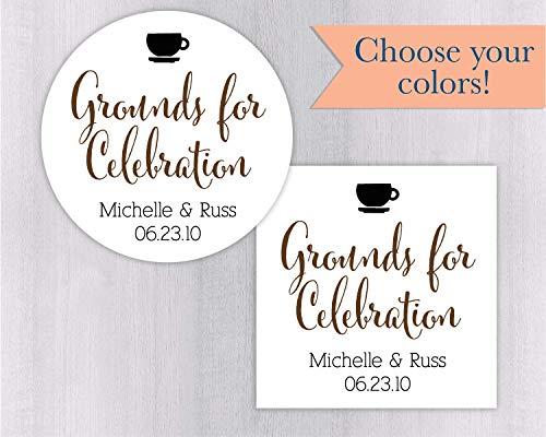 - Grounds for Celebration Wedding Favor Sticker/Label (#092)
