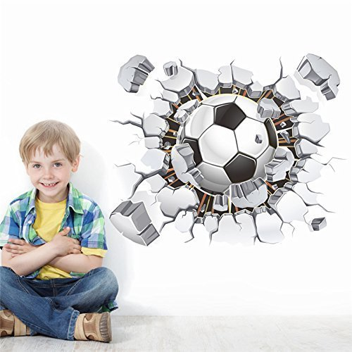Wallace Glass Print (Pakdeevong shop 3D Football Soccer Playground Broken Wall Hole view home decal wall sticker print poster for kids room sport decor mural)