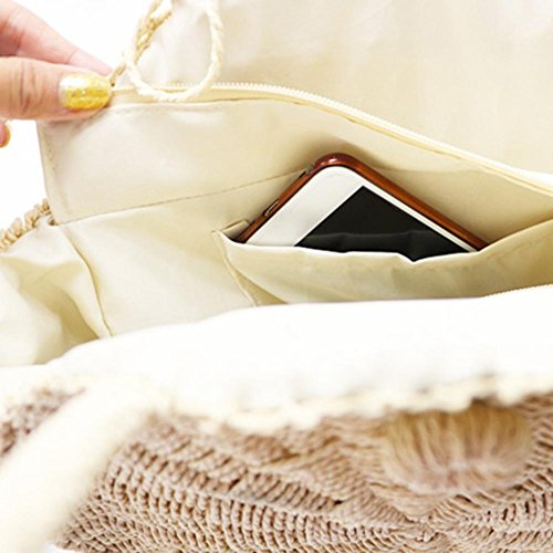 Body Outdoor Beach Fishing Bag Beige Circular Woven New Cross Bag Bag Beige Straw Bag Beach Braid Versatile Woman Beach Bag Sling Beach 7gPq8U