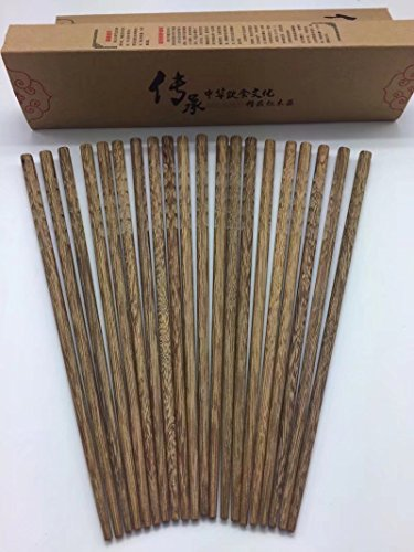 Udyr Luxury Reusable Natural Wenge Wood Chopsticks Multicultural Ancient Asian Wisdom Non-slip Classic Chinese Style 10 Pairs with Gift Box Ancient Chinese Chopsticks