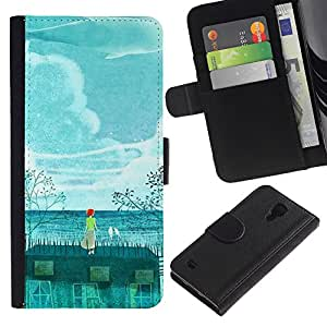 UberTech / Samsung Galaxy S4 IV I9500 / Teal Painting Whale Environment Global / Cuero PU Delgado caso Billetera cubierta Shell Armor Funda Case Cover Wallet Credit Card