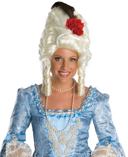 Secret Wishes  Costume Marie Antoinette Wig with Rose, White, One Size (Marie Antoinette Halloween Costume)