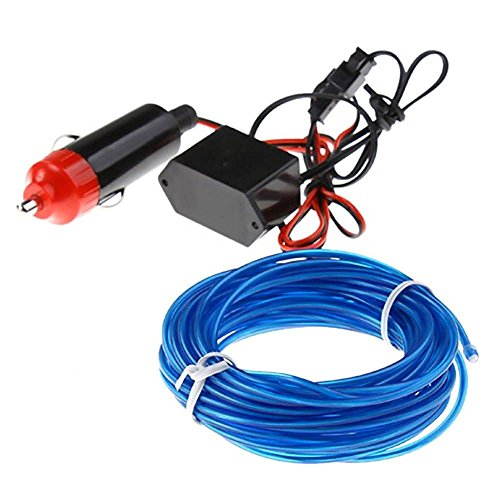 5M Neon LED Light Glow EL Wire String Strip Rope Tube + 12V Power Inverter Kit - -