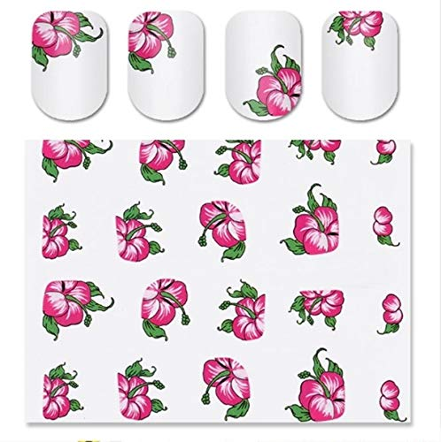 1 Pcs Red Bloomy Floral Flower Nails Art Stickers Manicure Nail Sticker Decals Women Acrylic Design Beauty Popular Gel Polish Stencils Adhesive Line Tape Halloween Tool Tips -