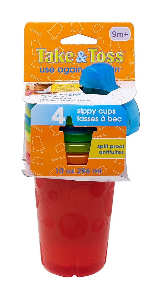 The First Years Take & Toss Spill-Proof Sippy Cups, 10 Ounce, 4 Count : Sippy Cups : Baby