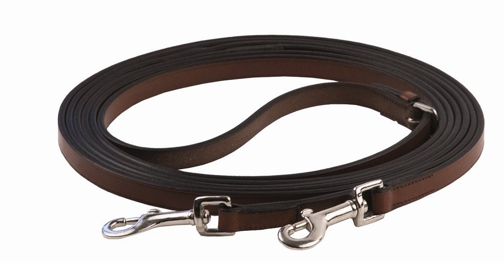 Henri de Rivel Breastplate Draw Reins - Full Leather with Breastplate Snap | Color - Oakbark JPC Equestrian Inc