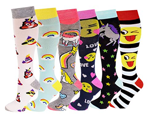 6 Pairs Women's Fancy Design Multi Colorful Patterned Knee High Socks -