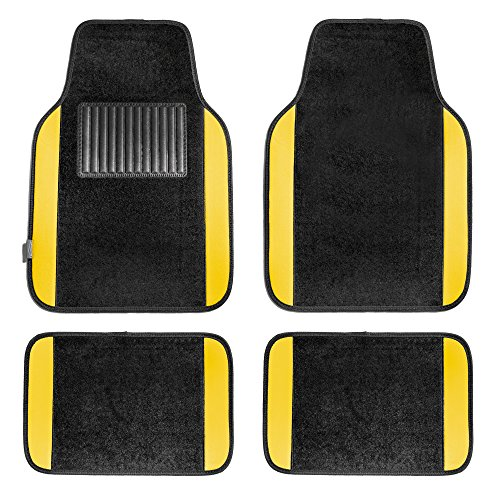 FH Group F14407YELLOW Premium Full Set Carpet Floor Mat (Sedan and SUV with Driver Heel Pad Yellow)