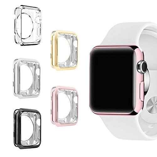 UBOLE Case for Apple Watch, UBOLE Scratch-resistant Flexible Lightweight Plated TPU Full Body Protective Case for iWatch Series3, Series 2, series 1 (5colors, 38mm) by UBOLE