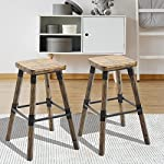 """Festnight Set of 2 Rustic Counter Bar Stools Wooden Top Armless Chair Seat Square Barstool 26"""" H"""