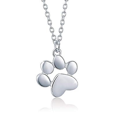 SIMPLOVE Huella de Animal Lindo Collar de Plata de Ley 925, Gato Perro Paw Colgante, Embalaje de Regalo para Cada Momento Especial: Amazon.es: Joyería