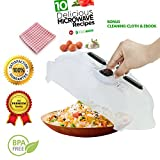 Microwave Magnetic Plate, Microwave Anti-Sputtering Cover, Plate Cover with Steam Vents and Extra Strong Magnetic, Safe BPA Free Bonus Cleaning Clothes & eBook
