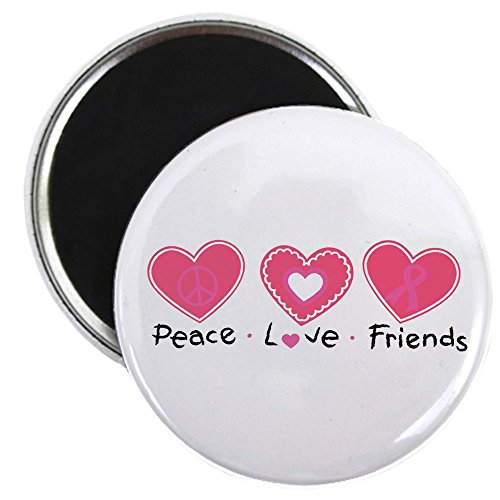 2.25 Inch Magnet Cancer Peace Love Friends Pink Ribbon