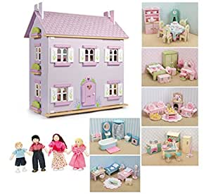 Le Toy Van - Casa de Muñecas de Madera Lavander con Mobiliario (6 Conjuntos de Muebles de la Línea Margarita + Muñecas)