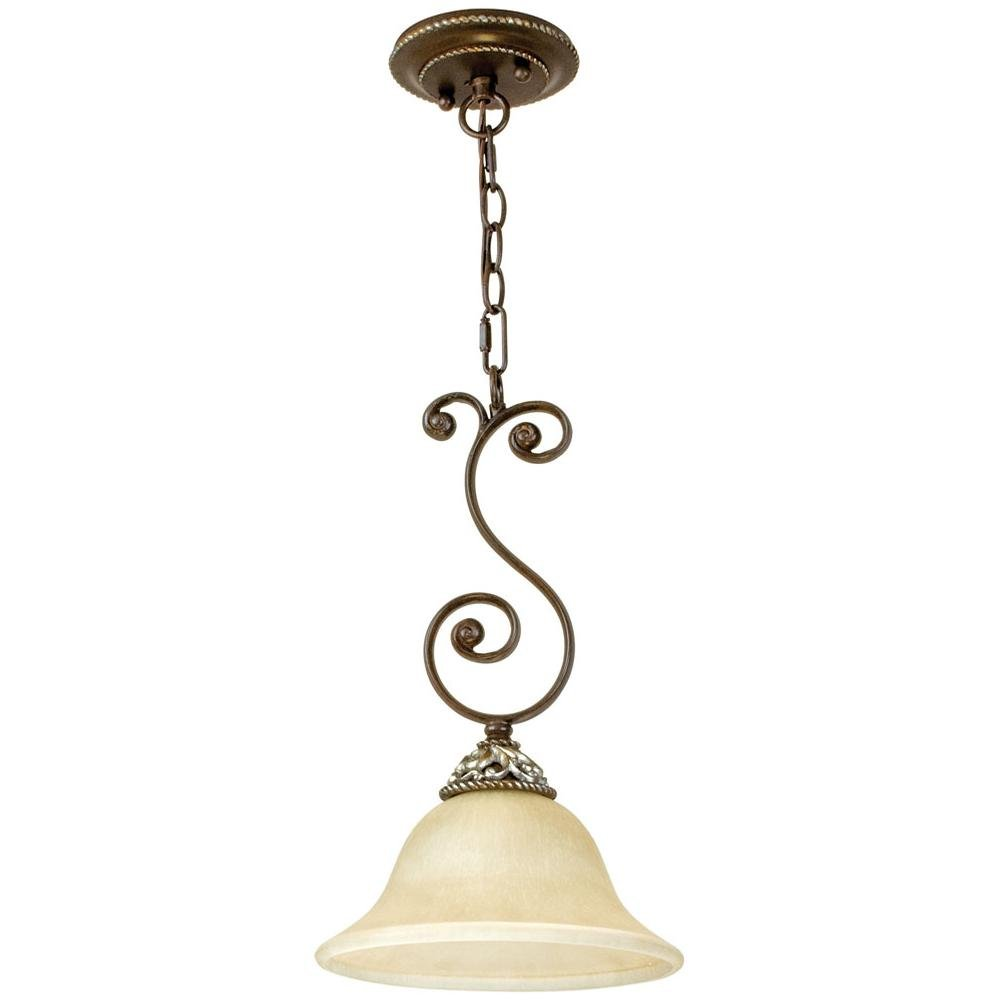 Mia 1 Light Mini Pendant in Aged Bronze/Vintage Madera by Jeremiah