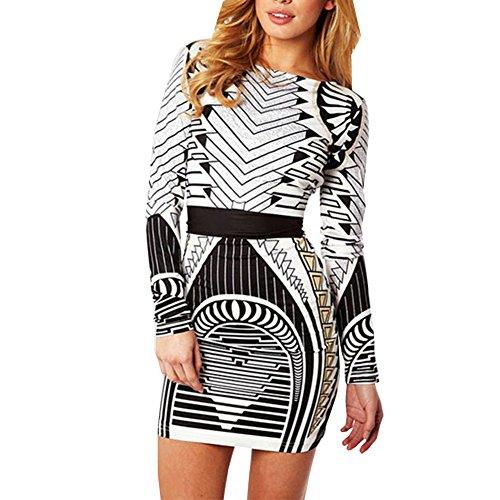 Ensasa Women Fashion Long Sleeve Bodycon Printed Slim Sexy Dress Black And White Extra Large (Cheap Fancy Dress Plus Size)