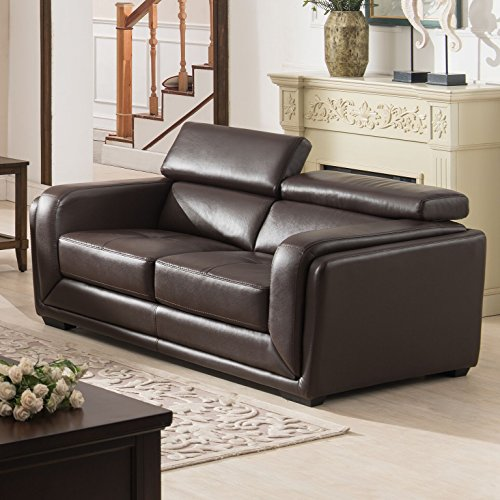 AC Pacific Calvin Collection Modern Style Leather Upholstered Living Room Love Seat, Dark Brown