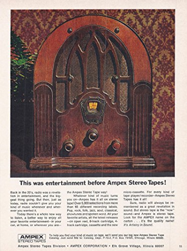 (1969 Vintage Magazine Advertisement Ampex, This Was Entertainment Before Ampex Stereo Tapes!)