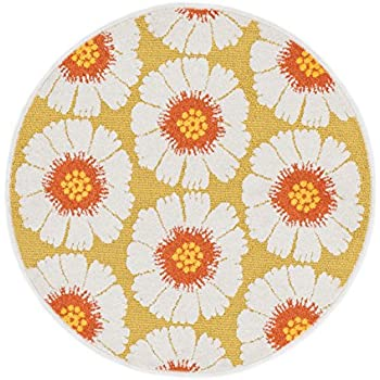 Loloi Rugs TERCHTC16XCML300R Terrace Indoor/Outdoor Round Area Rug, 3 Feet  0 Inch By 3 Feet 0 Inch, Citron/Multi Color