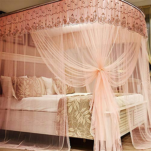 U-Type Retractable Bracket Mosquito net Double Bed Mosquito net Princess Mosquito net Three Door Thick Yarn Thickening Mosquito net Luxury Mosquito net, Pink, L (87-210Adjustment) W180cm by RFVBNM Mosquito net (Image #5)