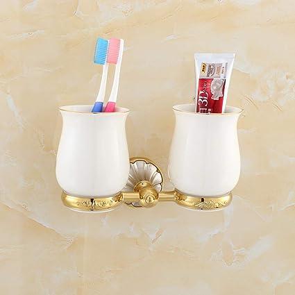 GZF Titular de Cepillo de Dientes Portacepillos de cepillos de dientes de acero inoxidable de oro