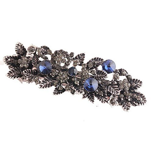(ZOONAI Women Vintage Jewelry Rhinestone Hair Clips Hairpins Barrette Accessary (Leaf))