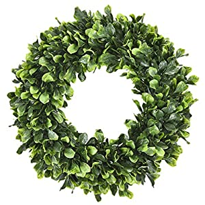 Sunm boutique Boxwood Wreath, 15'' Artificial Wreath Outdoor, Green Leaves Wreath Round Wreath for Front Door Hanging Wall Window Wedding Party Decor 83