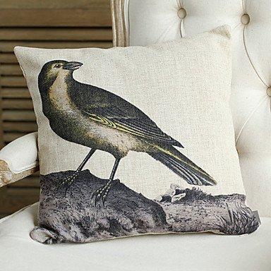 Miaoge Leinen und Baumwolle Kissenbezug mit Vögel Dekoration Dekoration Dekoration (Set von 4) B0722ZBG7K Kopfkissenbezüge da4e5e