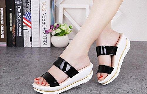 Verano sandalias y zapatillas pendiente con deslizadores de la palabra casuales zapatos de la plataforma de fondo grueso de las mujeres Black